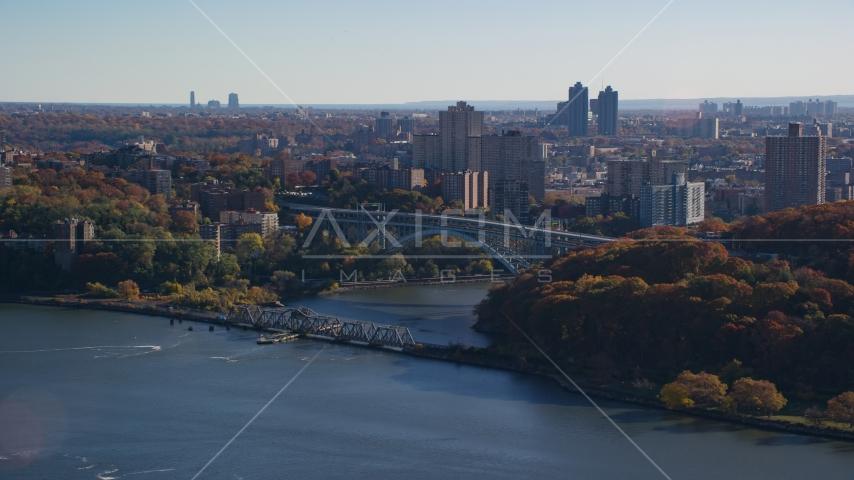 Henry Hudson and Spuyten Duyvil Bridges in Autumn, The Bronx, New York City Aerial Stock Photos AX119_054.0000179F