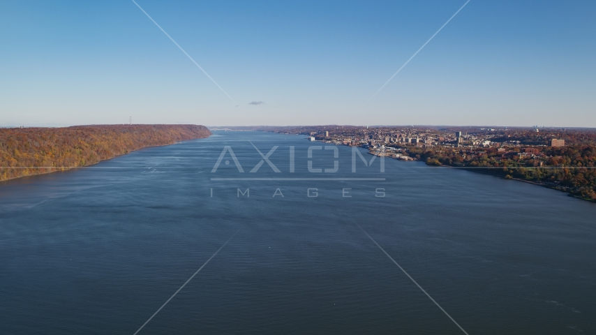 Yonkers on the east shore of the Hudson River in New York in Autumn Aerial Stock Photos AX119_058.0000091F | Axiom Images
