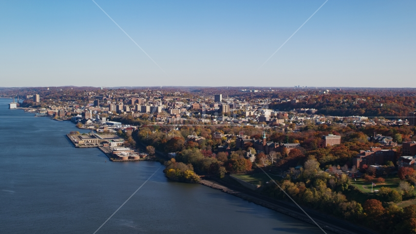 Yonkers by the Hudson River in New York in Autumn Aerial Stock Photos | AX119_060.0000150F