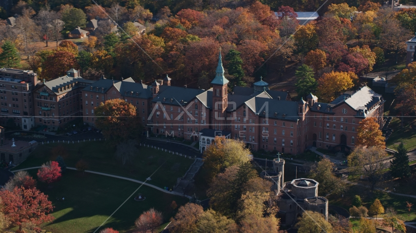 College of Mount Saint Vincent campus building in Autumn, Yonkers, New York Aerial Stock Photos | AX119_061.0000237F