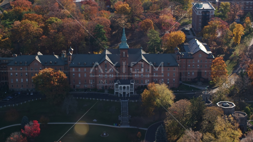 The College of Mount Saint Vincent in Autumn, Yonkers, New York Aerial Stock Photos | AX119_062.0000075F
