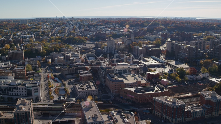 Downtown office buildings in Autumn, Yonkers, New York Aerial Stock Photos | AX119_066.0000115F