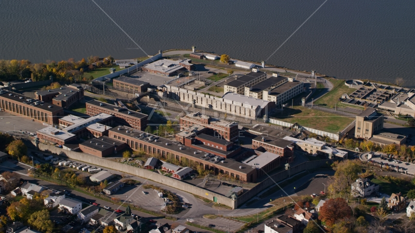 Sing Sing Correctional Facility in Autumn, Ossining, New York Aerial Stock Photos | AX119_116.0000202F