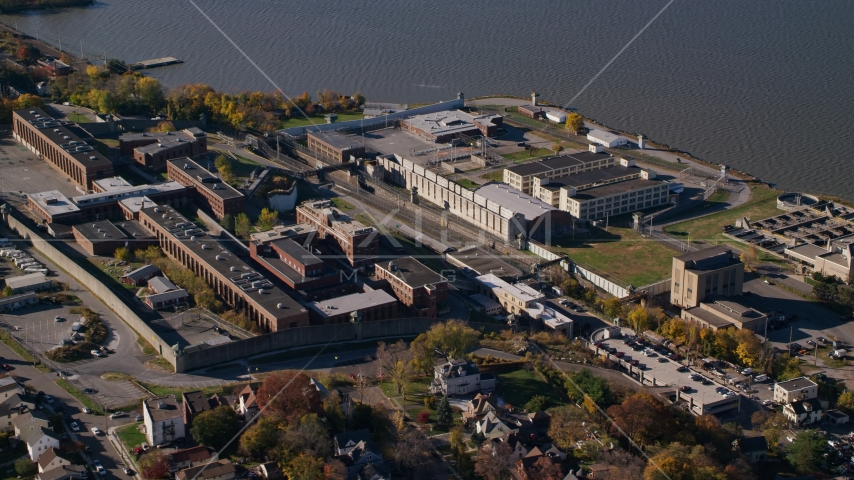 North side of Sing Sing Correctional Facility in Autumn, Ossining, New York Aerial Stock Photo AX119_117.0000186F | Axiom Images