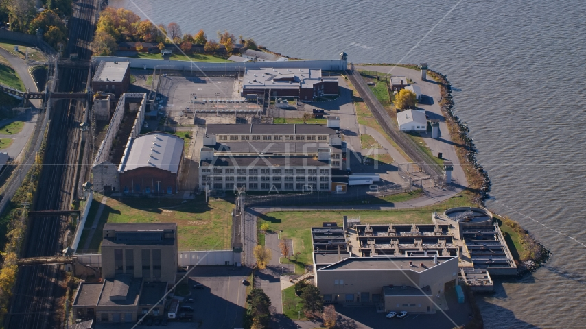 Sing Sing Correctional Facility complex in Autumn, Ossining, New York Aerial Stock Photos | AX119_118.0000191F