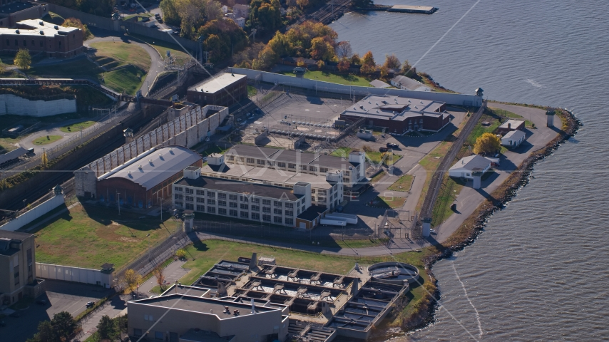 Sing Sing Prison complex in Autumn, Ossining, New York Aerial Stock Photos | AX119_119.0000171F