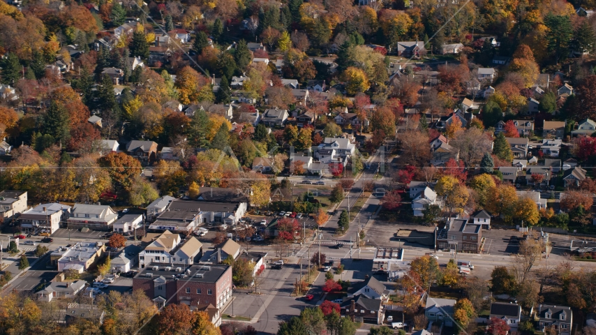 Small town homes around a street intersection in Autumn, Croton on Hudson, New York Aerial Stock Photo AX119_130.0000102F | Axiom Images