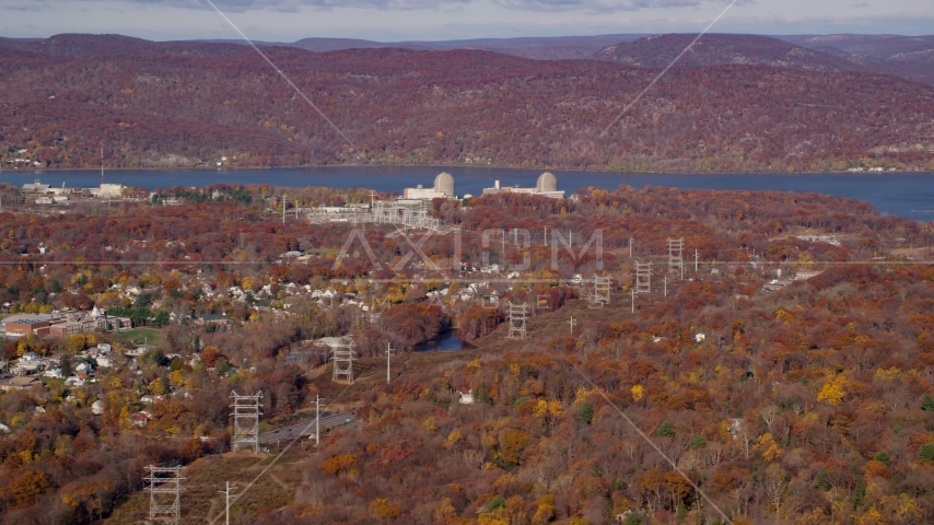Power lines by the Indian Point Nuclear Power Plant in Autumn, Buchanan, New York Aerial Stock Photos AX119_140.0000056F