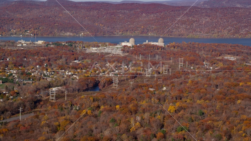 Indian Point Energy Center in Autumn, Buchanan, New York Aerial Stock Photo AX119_140.0000251F | Axiom Images