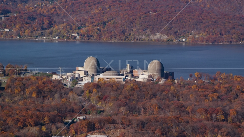 Indian Point Energy Center nuclear plant in Autumn, Buchanan, New York Aerial Stock Photos | AX119_143.0000075F