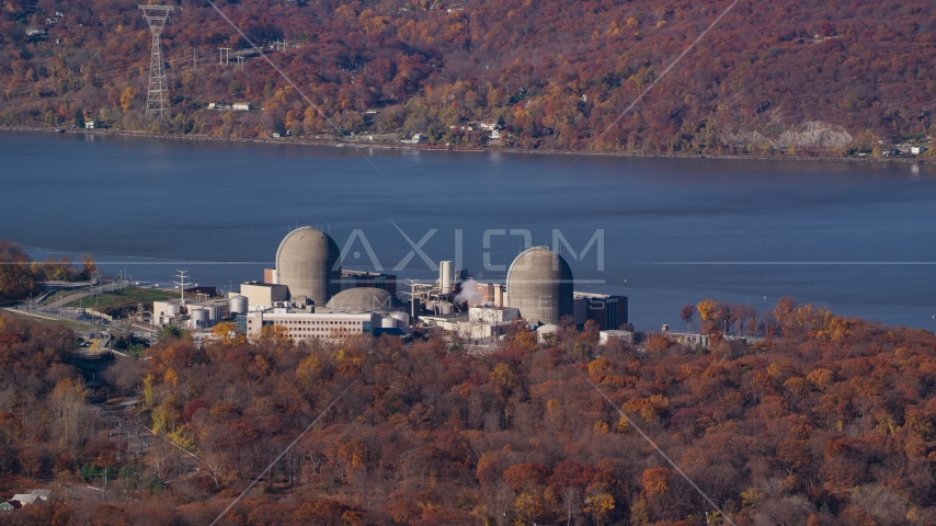 The Indian Point Energy Center nuclear power plant in Autumn, Buchanan, New York Aerial Stock Photos | AX119_144.0000113F