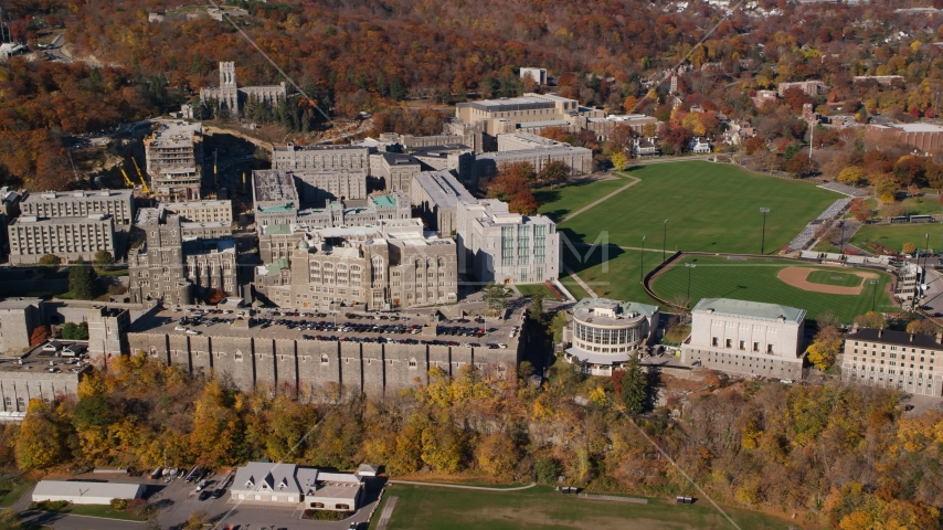 United States Military Academy in Autumn, West Point, New York Aerial Stock Photos | AX119_166.0000090F