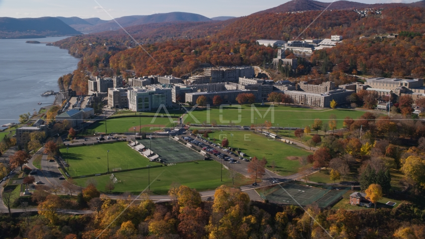 Grounds of the United States Military Academy at West Point in Autumn in New York Aerial Stock Photos | AX119_169.0000095F