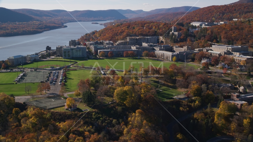 Campus of the West Point Military Academy in Autumn, West Point, New York Aerial Stock Photos | AX119_170.0000109F