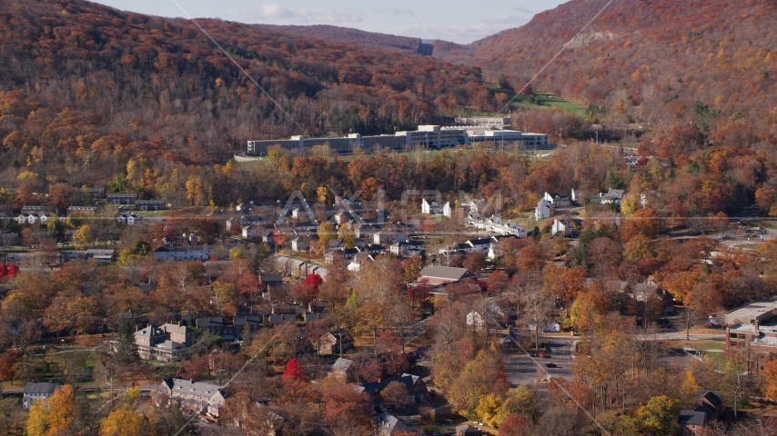 Housing at West Point Military Academy in Autumn, West Point, New York Aerial Stock Photos AX119_172.0000034F