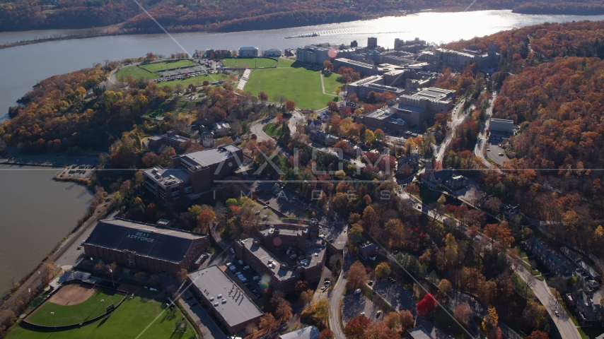 The West Point Military Academy by the Hudson River in Autumn, West Point, New York Aerial Stock Photos | AX119_174.0000073F