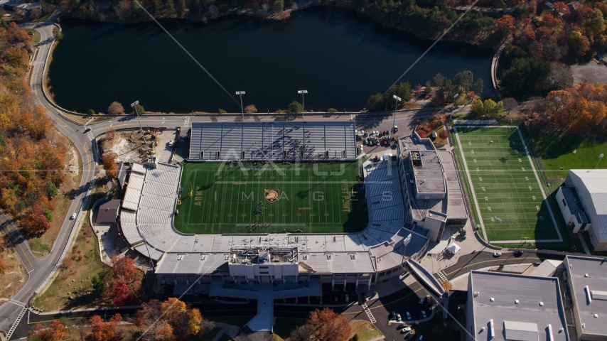 Michie Stadium, West Point Military Academy, New York in Autumn Aerial Stock Photos | AX119_177.0000102F