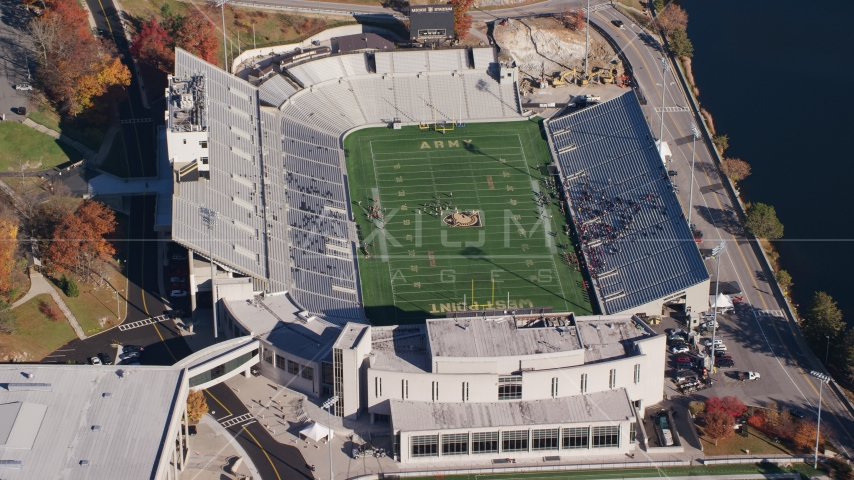 Michie Stadium in Autumn at United States Military Academy at West Point, New York Aerial Stock Photos AX119_178.0000177F