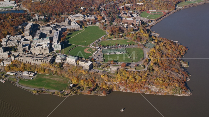 West Point Military Academy sports fields in Autumn, West Point, New York Aerial Stock Photos AX119_184.0000038F