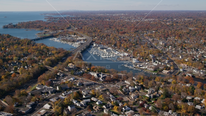 Marinas on the Mianus River by homes in Autumn, Greenwich, Connecticut Aerial Stock Photo AX119_232.0000028F | Axiom Images