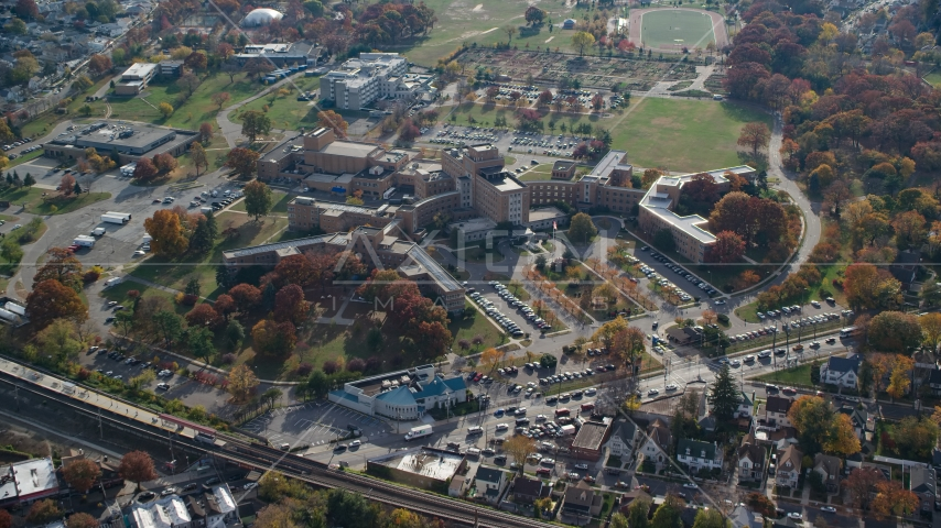 Hospital complex in Jamaica, Queens, New York City, in Autumn Aerial Stock Photos | AX120_045.0000099F
