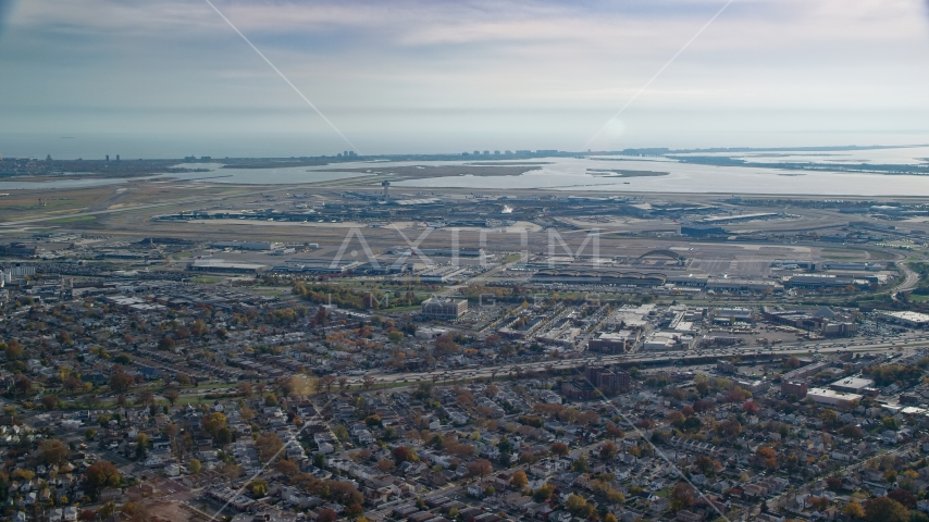 John F. Kennedy International Airport in Autumn, Queens, New York City Aerial Stock Photo AX120_048.0000243F | Axiom Images