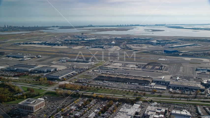 John F. Kennedy International Airport in Autumn, Queens, New York City Aerial Stock Photos | AX120_050.0000049F