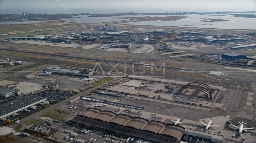 JKF International Airport in Autumn, Queens, New York City Aerial Stock Photo AX120_051.0000055F | Axiom Images