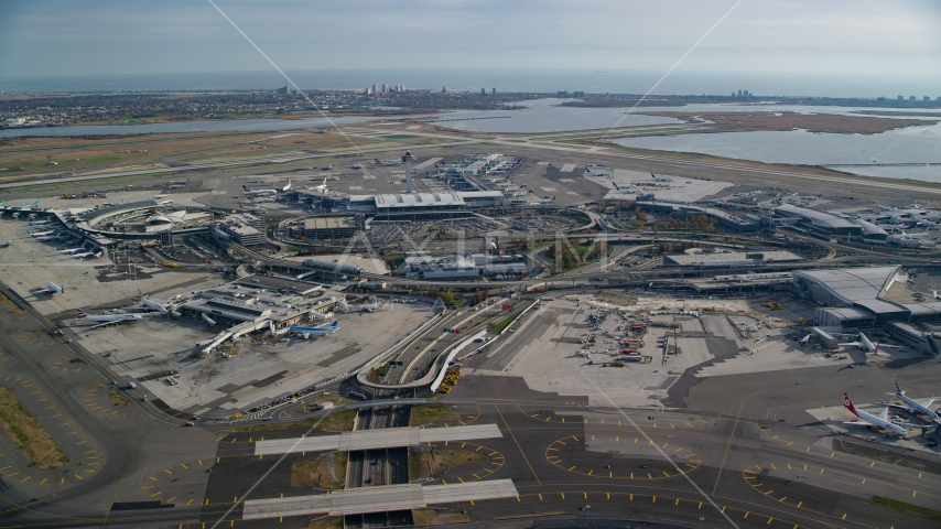 John F. Kennedy International Airport, New York City, in autumn Aerial Stock Photos | AX120_052.0000103F
