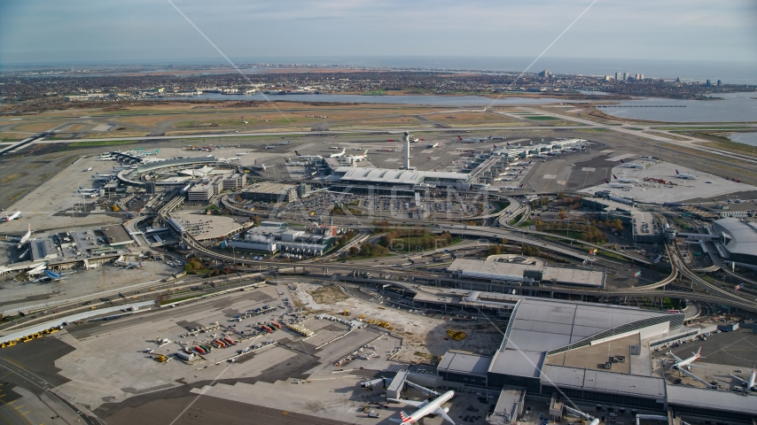 John F. Kennedy International Airport in Autumn Aerial Stock Photos | AX120_053.0000303F