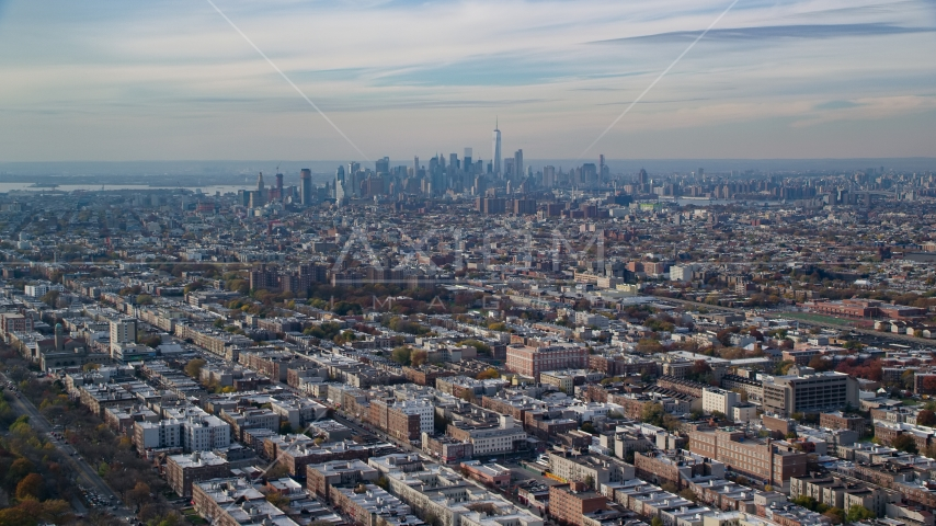 Lower Manhattan skyline seen from Brooklyn in Autumn, New York City Aerial Stock Photo AX120_080.0000094F | Axiom Images
