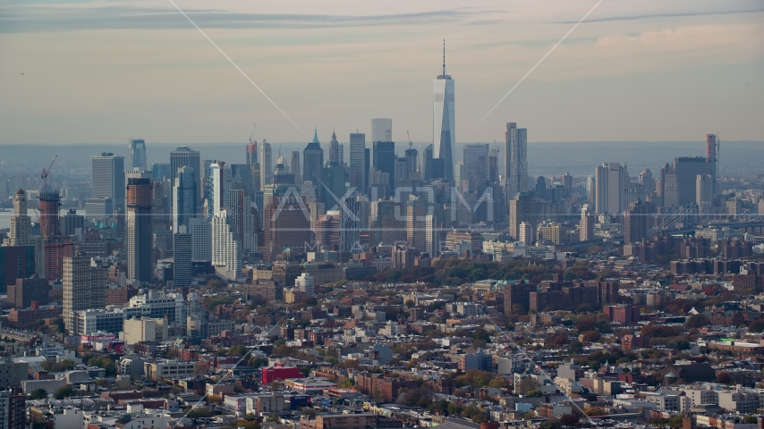 The Lower Manhattan skyline seen from Brooklyn in Autumn, New York City Aerial Stock Photos | AX120_082.0000079F