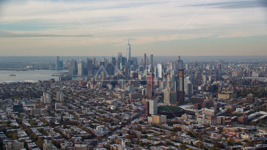 Downtown Brooklyn and the Lower Manhattan skyline in Autumn, New York City Aerial Stock Photos | AX120_084.0000126F
