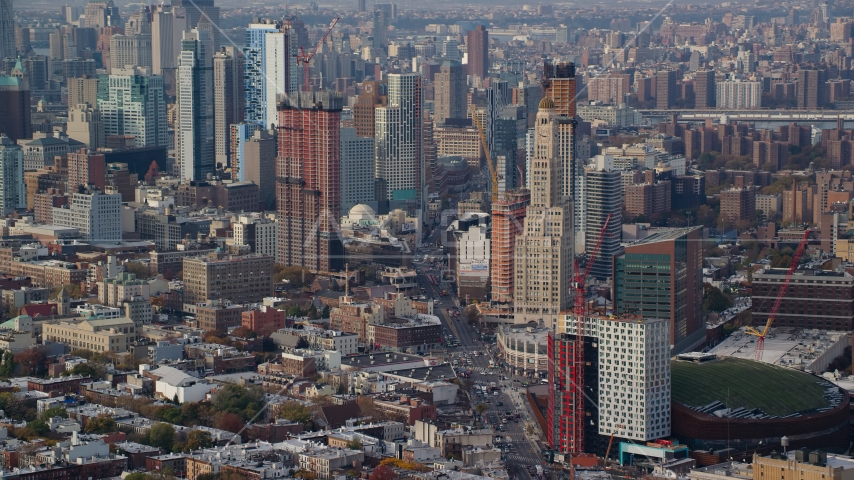 Skyscrapers in the downtown area of Brooklyn in Autumn, New York City Aerial Stock Photos | AX120_085.0000133F