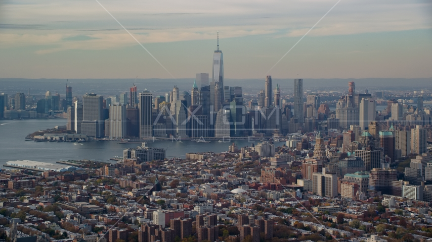 Lower Manhattan skyline and East River, seen from Brooklyn in Autumn, New York City Aerial Stock Photos | AX120_086.0000097F