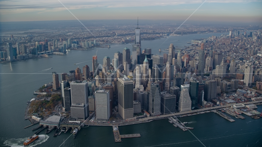 Lower Manhattan and the Hudson River in Autumn, New York City Aerial Stock Photos | AX120_093.0000145F