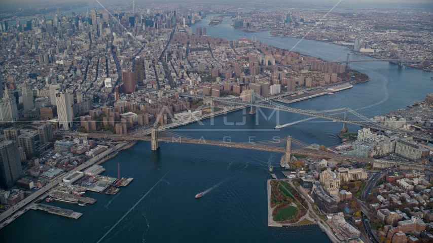 Brooklyn and Manhattan Bridges in Autumn, New York City Aerial Stock Photos | AX120_094.0000060F