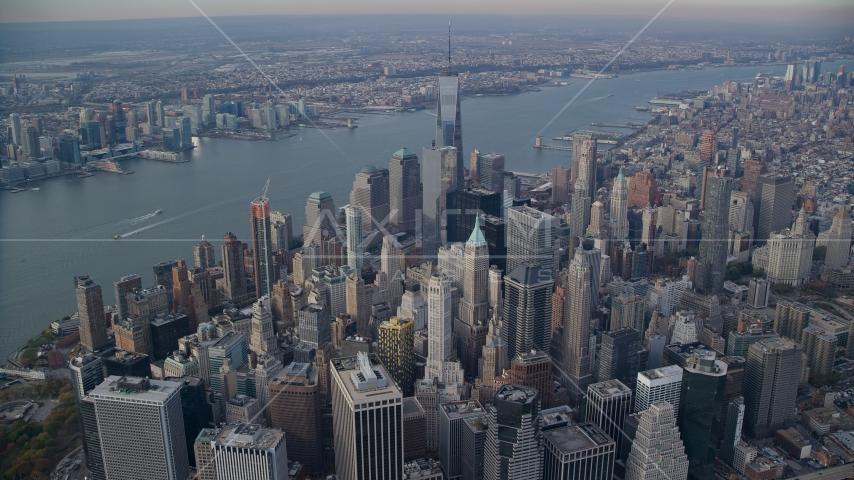 Lower Manhattan skyscrapers and the Hudson River in New York City Aerial Stock Photos | AX120_095.0000000F