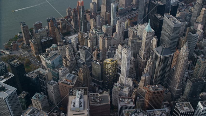 Lower Manhattan skyscrapers and high-rise buildings in Autumn, New York City Aerial Stock Photo AX120_097.0000028F | Axiom Images