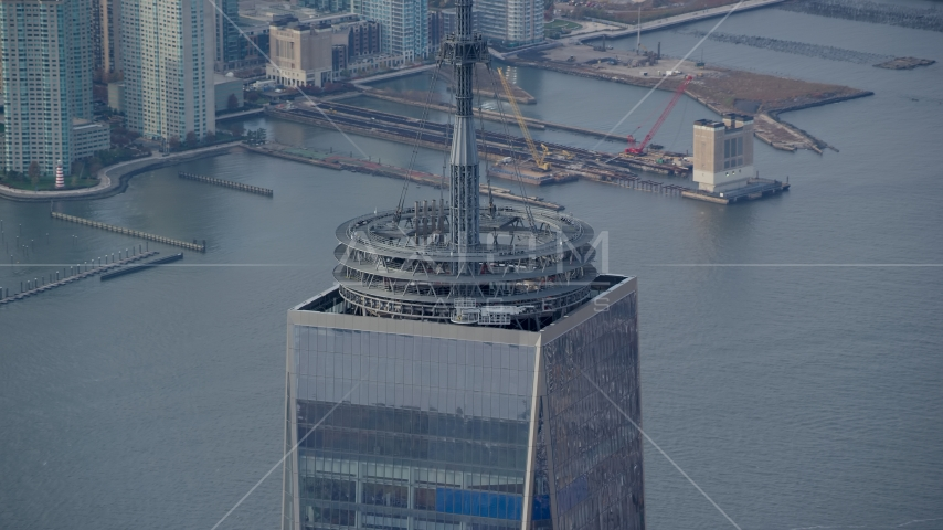Base of the Freedom Tower spire in Lower Manhattan, New York City Aerial Stock Photo AX120_099.0000163F | Axiom Images