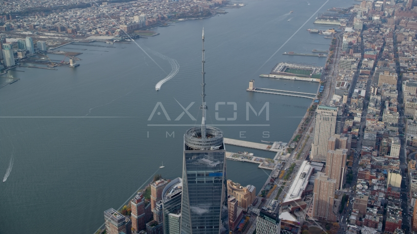 Freedom Tower''s top spire and the Hudson River, Lower Manhattan, New York City Aerial Stock Photos | AX120_101.0000256F