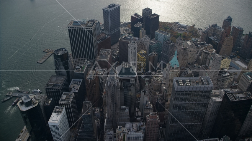 Skyscrapers on the end of Lower Manhattan, New York City Aerial Stock Photos | AX120_107.0000010F