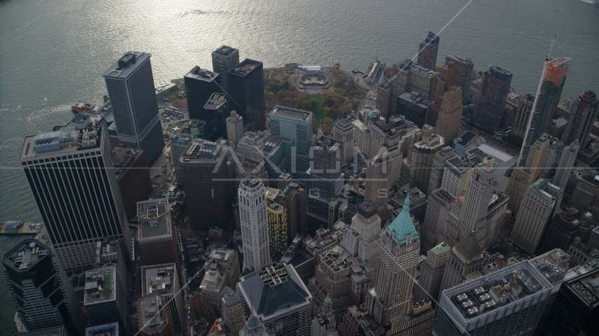 Skyscrapers and Battery Park's Castle Clinton in Lower Manhattan, New York City Aerial Stock Photo AX120_107.0000254F | Axiom Images