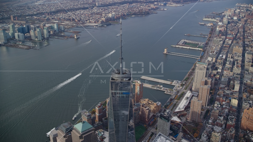 Freedom Tower and the Hudson River in Lower Manhattan, New York City Aerial Stock Photos | AX120_109.0000122F