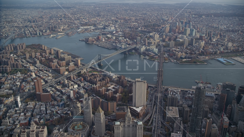 Brooklyn Bridge and Manhattan Bridge in New York City Aerial Stock Photo AX120_112.0000056F | Axiom Images