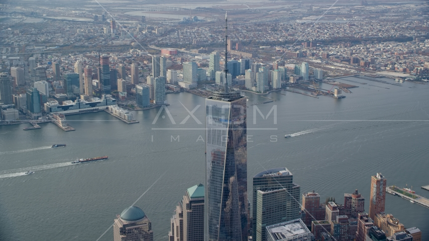 Freedom Tower in Lower Manhattan, New York City, and Downtown Jersey City, New Jersey Aerial Stock Photo AX120_116.0000085F | Axiom Images