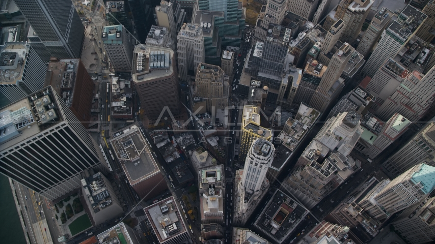 Bird's eye of view of skyscrapers in Lower Manhattan, New York City Aerial Stock Photo AX120_117.0000119F | Axiom Images