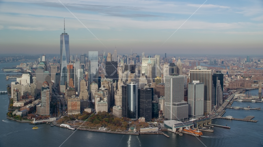 Lower Manhattan and Battery Park in Autumn, New York City Aerial Stock Photos | AX120_122.0000245F