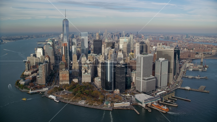 Battery Park, Lower Manhattan in Autumn, New York City Aerial Stock Photos | AX120_123.0000208F
