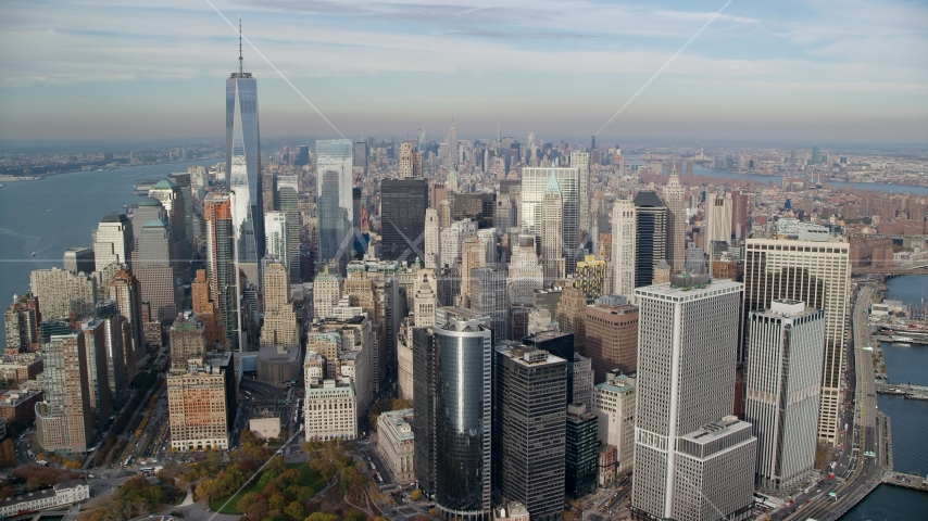 Lower Manhattan skyscrapers in Autumn, New York City Aerial Stock Photos | AX120_124.0000165F